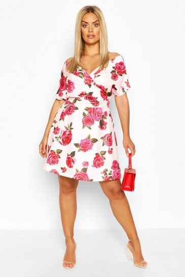 Floral Plus Scuba Wrap Tie Belt Skater Dress