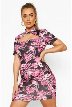 Black Plus Oriental Cut Out Bodycon Dress