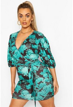 Black Plus Oriental Print Puff Sleeve Wrap Dress