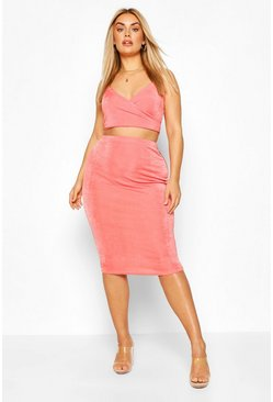 Coral Plus Wrap Front Textured Slinky Skirt & Crop Top