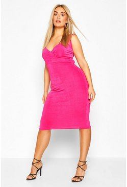 Pink Plus Wrap Front Textured Slinky Midi Dress