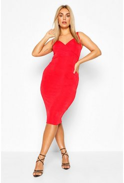 Red Plus Wrap Front Textured Slinky Midi Dress