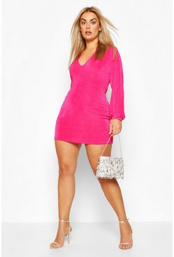 Plus Plunge Long Sleeve Mini Dress, Pink