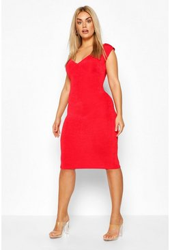 Red Plus On The Shoulder Textured Slinky Midi Dress