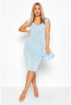 Plus On The Shoulder Textured Slinky Midi Dress, Sky