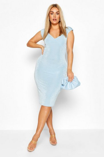 Sky Plus On The Shoulder Textured Slinky Midi Dress