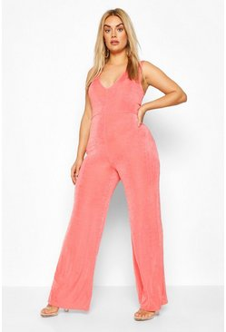 Coral Plus Plunge Wide Neck Jumpsuit