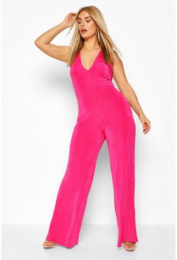 Pink Plus Plunge Wide Neck Jumpsuit