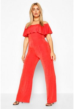 Orange Plus Off The Shoulder Ruffle Jumpsuit