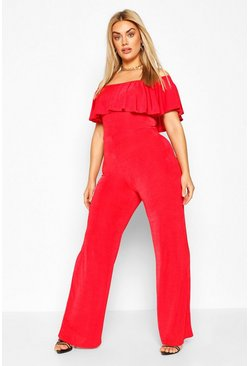Plus Bardot Ruffle Jumpsuit, Red