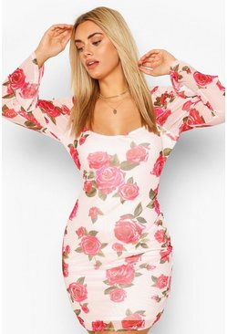 Plus Puff Sleeve Mini Dress , Floral
