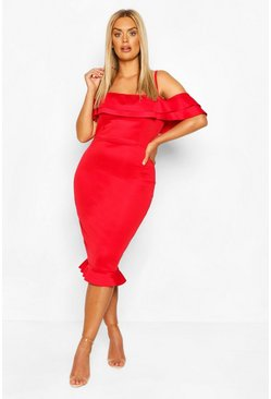 Red Plus Scuba Ruffle Midi Dress