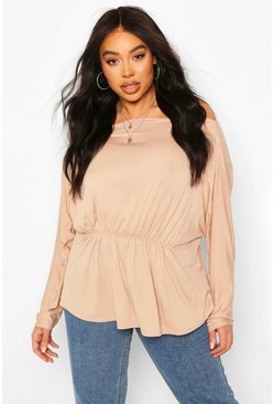 Plus Slash Neck Batwing Sleeve Peplum Top, Stone