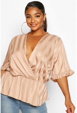 Plus Satin Stripe Wrap Peplum Blouse, Rose