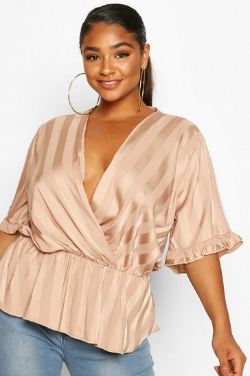 Rose Plus Satin Stripe Wrap Peplum Blouse