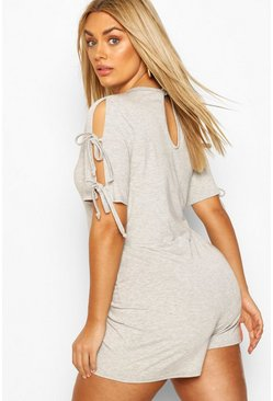 Grey Plus Jersey Short Sleeve Romper