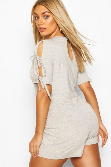 Grey Plus Jersey Short Sleeve Playsuit