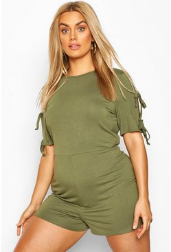 Khaki Plus Jersey Short Sleeve Playsuit