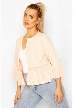 Blush Plus Ruffle Collarless Blazer