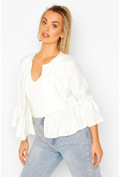 Ivory Plus Ruffle Collarless Blazer