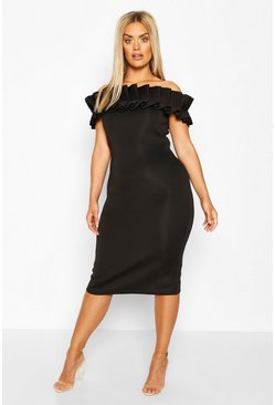 Black Plus Ruffle Off The Shoulder Dress