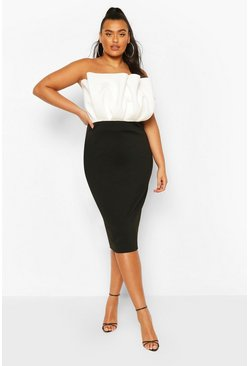 Black Plus Colourblock Midi Dress