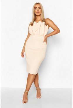 Blush Plus Ruffle Midi Dress