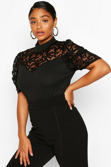 Black Plus Lace Bodysuit