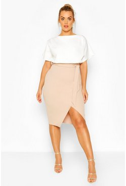 Stone Plus Colourblock Midi Dress