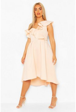Blush Plus Ruffle Midi Skater Dress