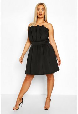 Black Plus Structured Ruffle Skater Dress
