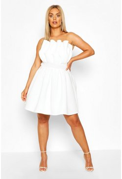 Ivory Plus Structured Ruffle Skater Dress