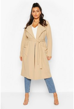 Stone Plus Belted Waterfall Duster Coat
