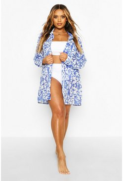 Blue Plus Chain Print Beach Shirt