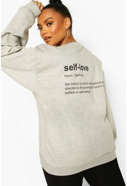 Grey marl Plus Self Love Back Print Sweat