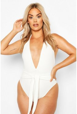 White Plus Crinkle Tie Belt Swimsuit