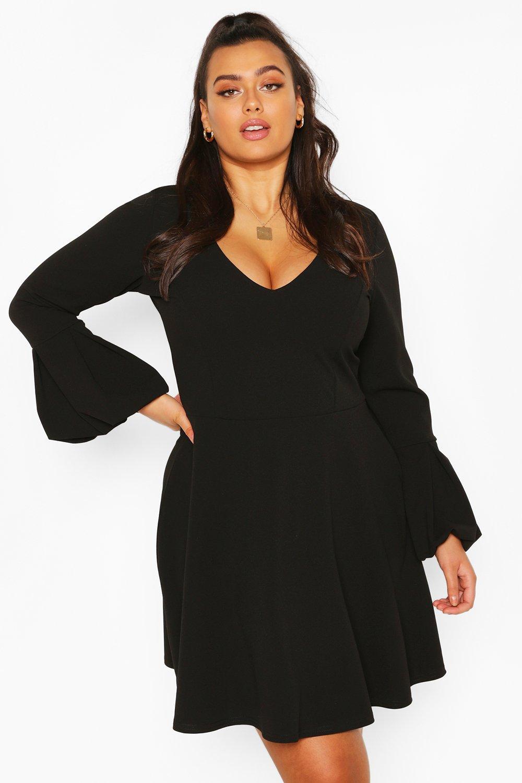 60s 70s Plus Size Dresses, Clothing, Costumes Womens Plus Volume Sleeve Skater Dress - Black - 14 $12.80 AT vintagedancer.com