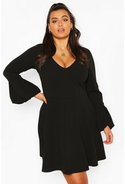 Black Plus Volume Sleeve Skater Dress