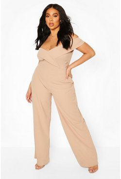 Stone Plus Off The Shoulder Button Detail Jumpsuit