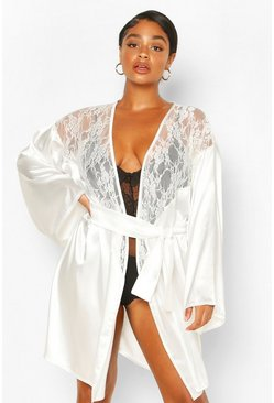 Ivory Plus Lace Insert Satin Belted Robe