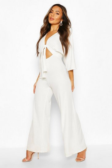 Ivory Petite Cut Out Wide Leg Jumpsuit