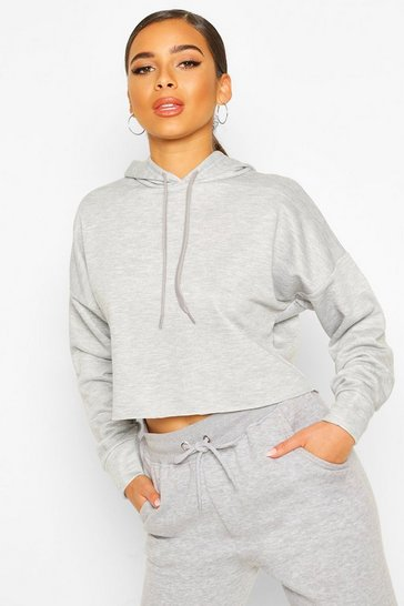 Grey Petite Cropped Basic Hoody
