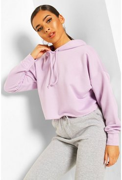 Lilac Petite Cropped Basic Hoody