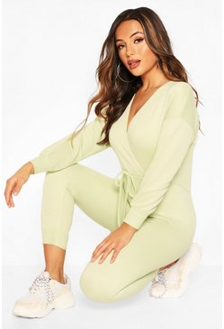 Mint Petite Wrap Over Sweat Jumpsuit