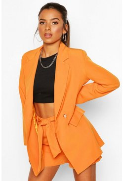 Orange Petite Belt Detail Double Breasted Blazer