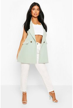 Sage Petite Double Breasted Sleeveless Blazer