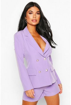 Lilac Petite Double Breasted Blazer