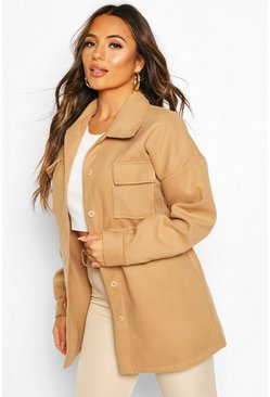 Camel Petite Wool Look Belted Pocket Detail Jacket