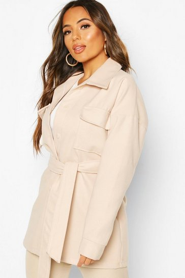 Ecru Petite Wool Look Belted Pocket Detail Jacket