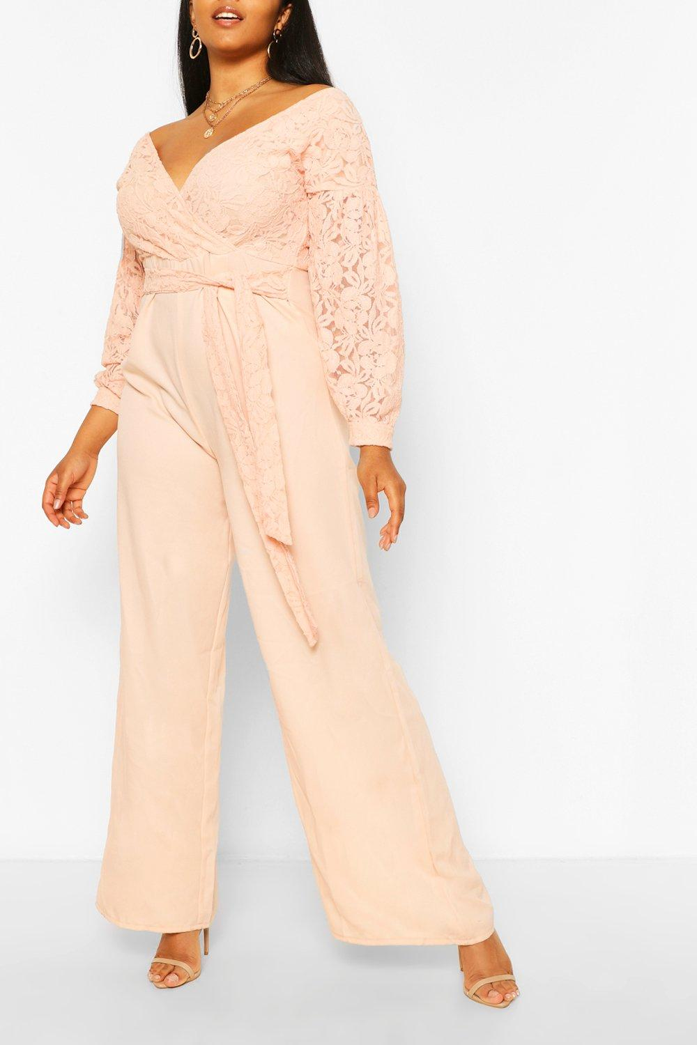 80s Dress Styles | Party, Prom, Formal Womens Plus Lace Off The Shoulder Wide Leg Jumpsuit - Pink - 16 $25.00 AT vintagedancer.com
